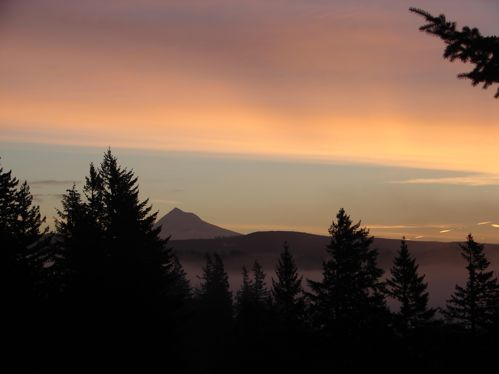 Sunrise at Mt. Hood as seen from hill behind Big Red